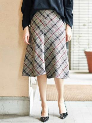 イエロー 【日本製】ジャカードチェックフレアスカート GEORGES RECHを見る