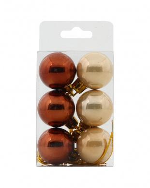 ブラウン×ベージュ/レッド×グリーン オーナメントボール3cm 6pcs×2種 12個セットを見る