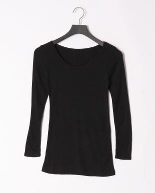 ブラック 裏起毛8分袖シャツを見る