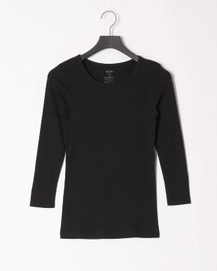 ブラック 綿暖8分袖シャツを見る