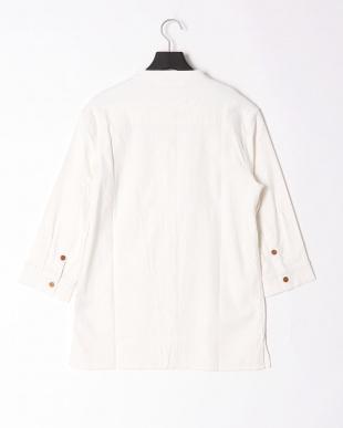 ホワイト linen stand collar shirtを見る