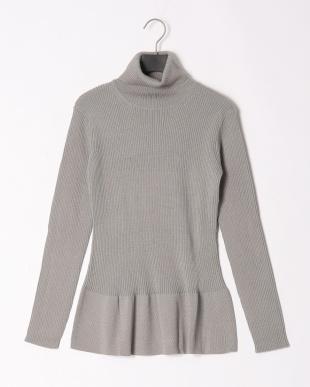 グレー 裾フレアーデザインリブセーターを見る