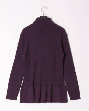 パープル 裾フレアーデザインリブセーターを見る