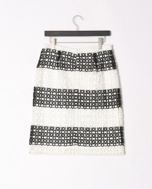 ホワイト*ブラック モノトーンレーススカートを見る