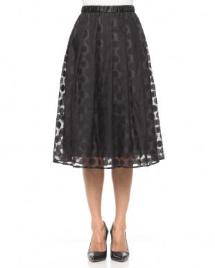 ブラック 透け感ドット柄スカートを見る