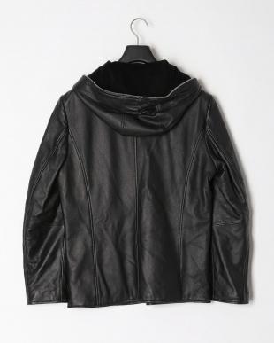 ブラック メンズラムジャケット フード付きを見る