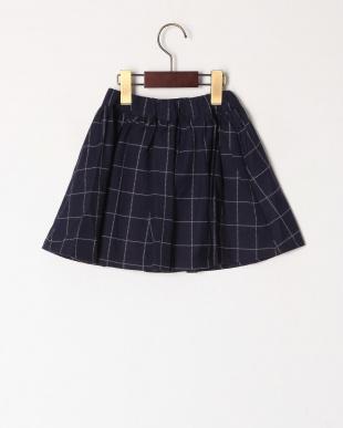 ネイビー  ワッフルチェックインナーパンツ付きスカートを見る