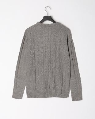 グレー アラン編みクルーニットを見る