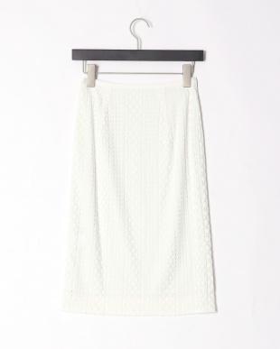 ホワイト ボーダーコードラッセルレースタイトスカートを見る