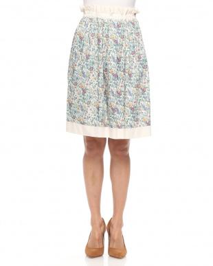 オフ  リバーシブル リバティープリント 花柄フレアースカートを見る