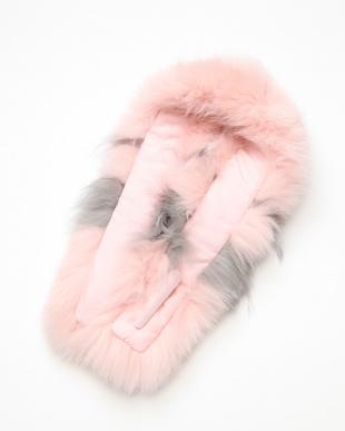 ピンク/グレー フォックスマフラーを見る