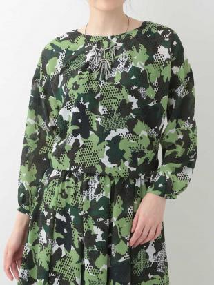グリーン 【洗濯機で洗える】花柄シフォンブラウス HIROKO BISを見る