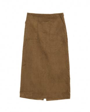 ブラウン ウエストバックゴムコーデュロイタイトスカートを見る