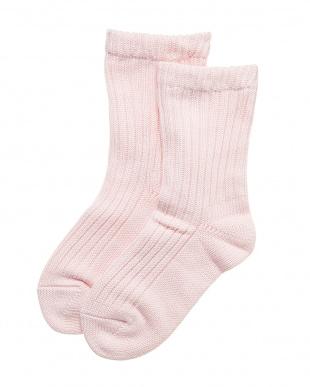 ピンク 表側コットン肌側シルクの2重編みソックスを見る