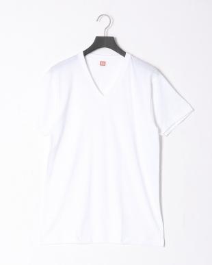 ホワイト  部屋干しインナー V首半袖シャツ 同色2枚組 2点セットを見る