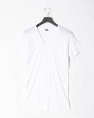 ホワイト  吸水速乾 V首半袖シャツ 同色2枚組 2点セットを見る