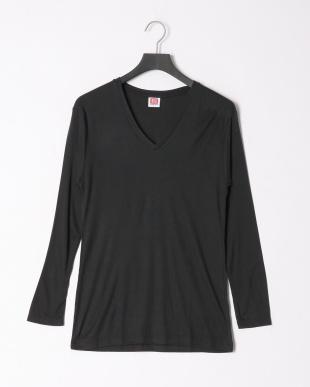 ブラック ヒートビズVネック長袖Tシャツ 吸湿発熱 中厚 2点セットを見る