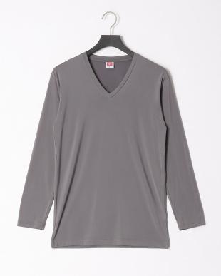 チャコールグレー 瞬暖Vネック長袖Tシャツ 裏起毛 ストレッチ 帯電防止 2点セットを見る