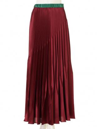 ネイビー オリガミプリーツサテンバイカラースカート UN3D.を見る