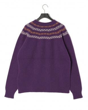 パープル ノルディッククルーネックセーターを見る