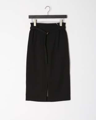 ブラック ウールライクベルテッドイージータイトスカートを見る