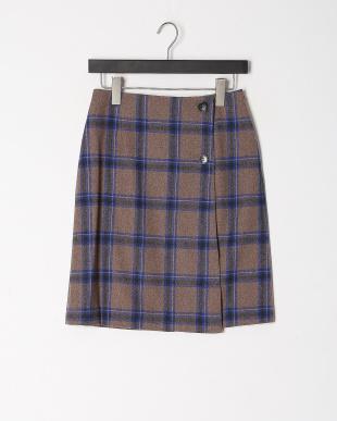 モカ柄 チェックトラペーズスカートを見る