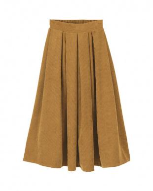キャメル コーデュロイタックデザインフレアスカートを見る