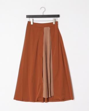 キャメル プリーツ切替スカートを見る