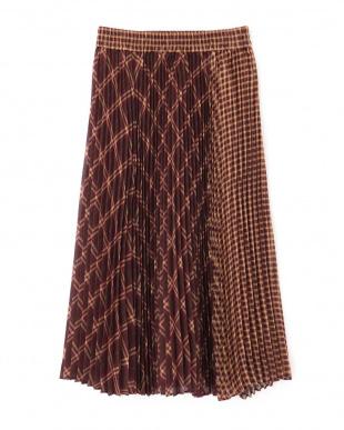 ブラウン  Ray 10月号掲載 シアチェックプリーツスカート Jill by Jill リプロを見る