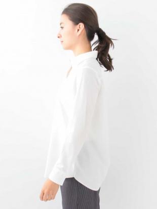 ホワイト 【洗える】コットンブレンドシャツブラウス GEORGES RECHを見る