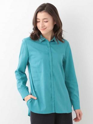 ライトブルー 【洗濯機OK】【日本製】リネンミックスバックフレアシャツ GEORGES RECHを見る