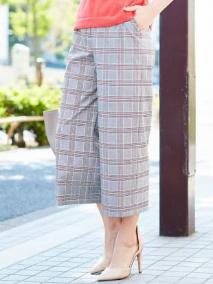パープル 【洗える】【日本製】グレンチェックワイドパンツ GEORGES RECHを見る