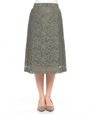 55/緑系H(グリーン) ミモレ丈レーシースカートを見る