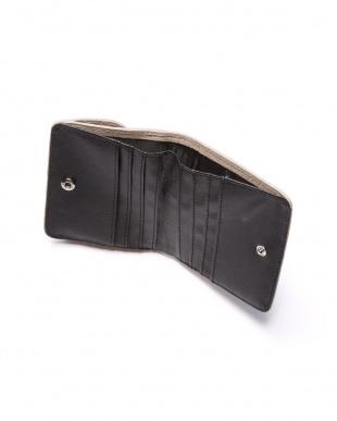 ライトグレ-  クロコダイル&牛革クロコ型押しコンパクト財布を見る
