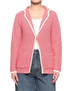 93/無彩色D(ライトグレー) 綿100%ワッフル編 配色パイピング ニットジャケットを見る