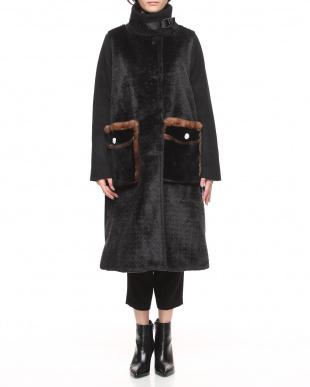 ブラック イタリア製 ウール混コートを見る