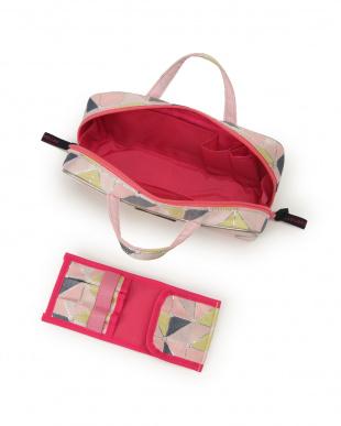 ピンク メイクパレット柄 ブラシケース付きバッグ型ポーチを見る