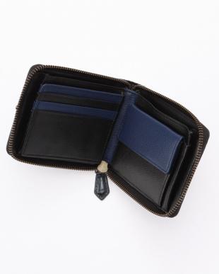 ネイビ-  カイマンワニ革&牛革クロコ型押しラウンドファスナー折財布を見る