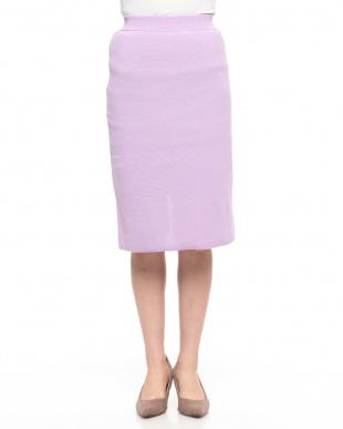 パープル ニットタイトロングスカートを見る