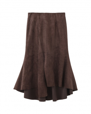 ブラウン 裾デザインエコスエードスカートを見る