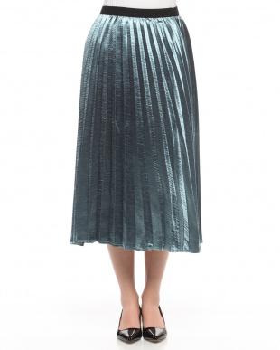 BLUE メタリックサテンプリーツスカートを見る