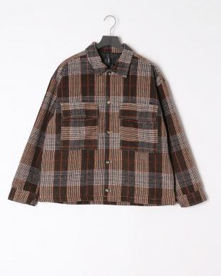 ブラウンチェック メルトン配色ステッチ中綿ジャケットを見る