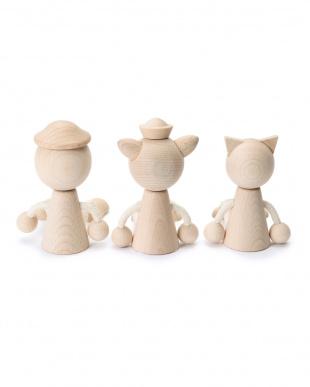 ネコ/アヒル/ブタ 木の人形/ナチュラル 3匹セットを見る
