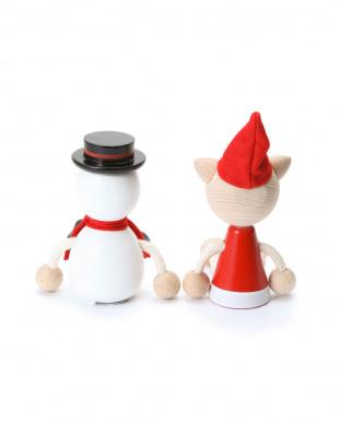 ホワイト/ネコ 木の人形・スノーマン/ネコ 2個セットを見る