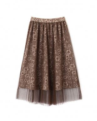 ブラウン1 |美人百花 10月号掲載|プリーツチュールフローラルスカート Jill by Jill リプロを見る