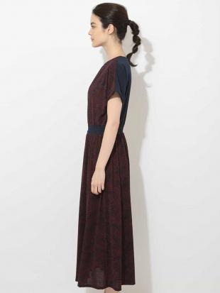 パープル 【洗濯機OK】ボタニカルリーフドレス GEORGES RECHを見る