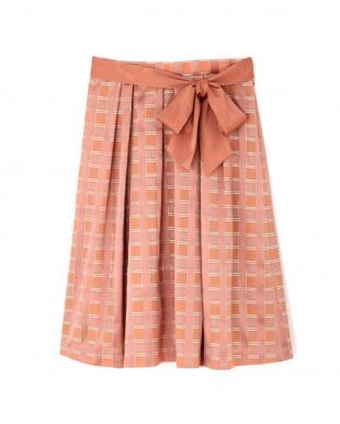 ピンク2 ラメチェックジャガードスカート NATURAL BEAUTYを見る