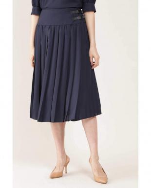 ネイビー ◆アムンゼンミニベルト付プリーツスカート NATURAL BEAUTYを見る