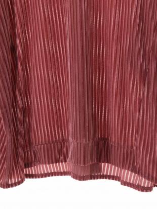 ピンク 【洗濯機OK】【大きいサイズ】ベロア&シースルーカットソー eur3を見る