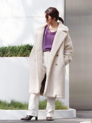 アイボリー ボアボリュームミドル丈コート Ungridを見る